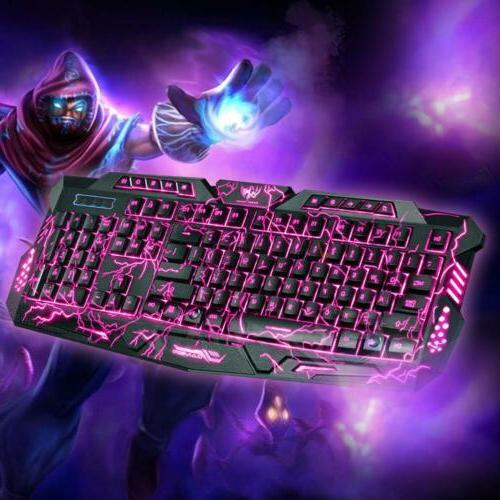 3 Colors LED Backlight Wired PC Gaming Keyboard US