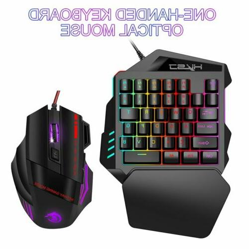 35 Keys One-Handed Game Keyboard & Mouse Mechanical For LOL