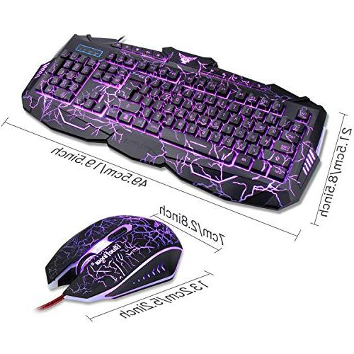 Gaming Combo Bluefinger Lighted 3 Color Blue/Red/Purple LED Crack Keyboard and Mouse Set for Office