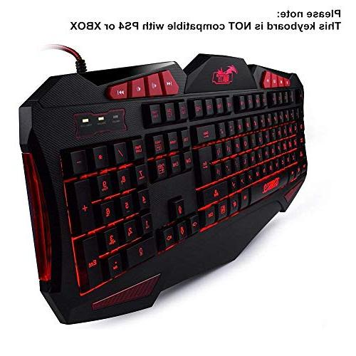Gaming and Mouse Sets - BAKTH Cool LED Wired USB Keyboard Mouse for Computer Games Including Durable Mouse