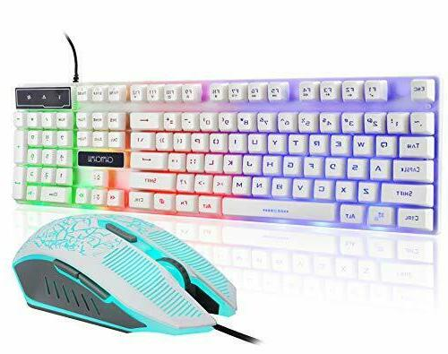 Gaming LED Backlit Keyboard and Mouse Combo with Emitting Ch