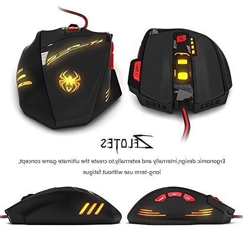 Zelotes 9200 Mouse,8 Buttons Set,6 Colors Precision wired for Gamer PC