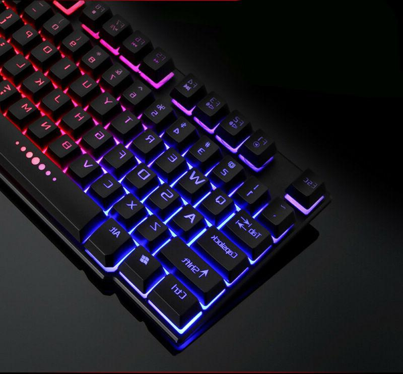 Backlit Gaming Adjustable 3 Colors LED Gamer USB Wired Keyboard