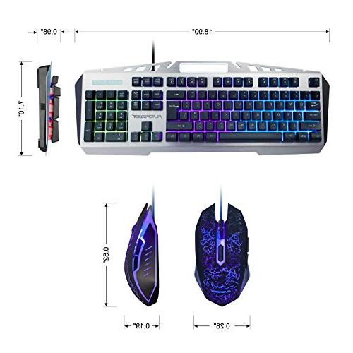 FLAGPOWER Gaming Keyboard and Mouse LED Mechanical Feeling Metal Aluminum-Alloy for