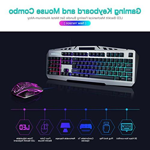 Mouse Combo Mechanical Bundle Metal for Computer PC Office