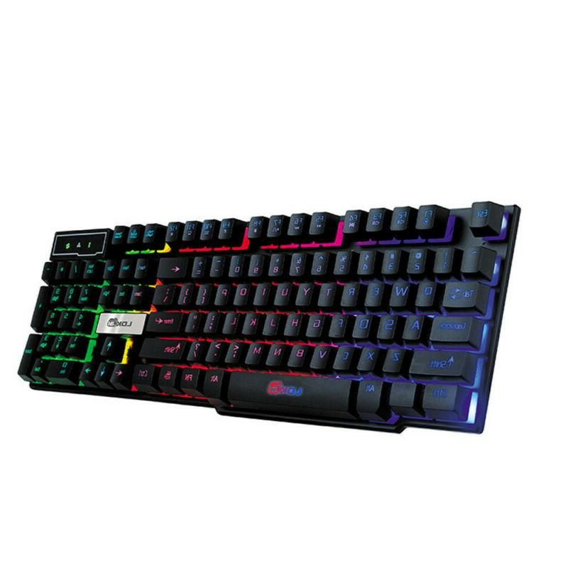 LED Backlit Mechanical Gaming Keyboard USB Wired Keyboard fo