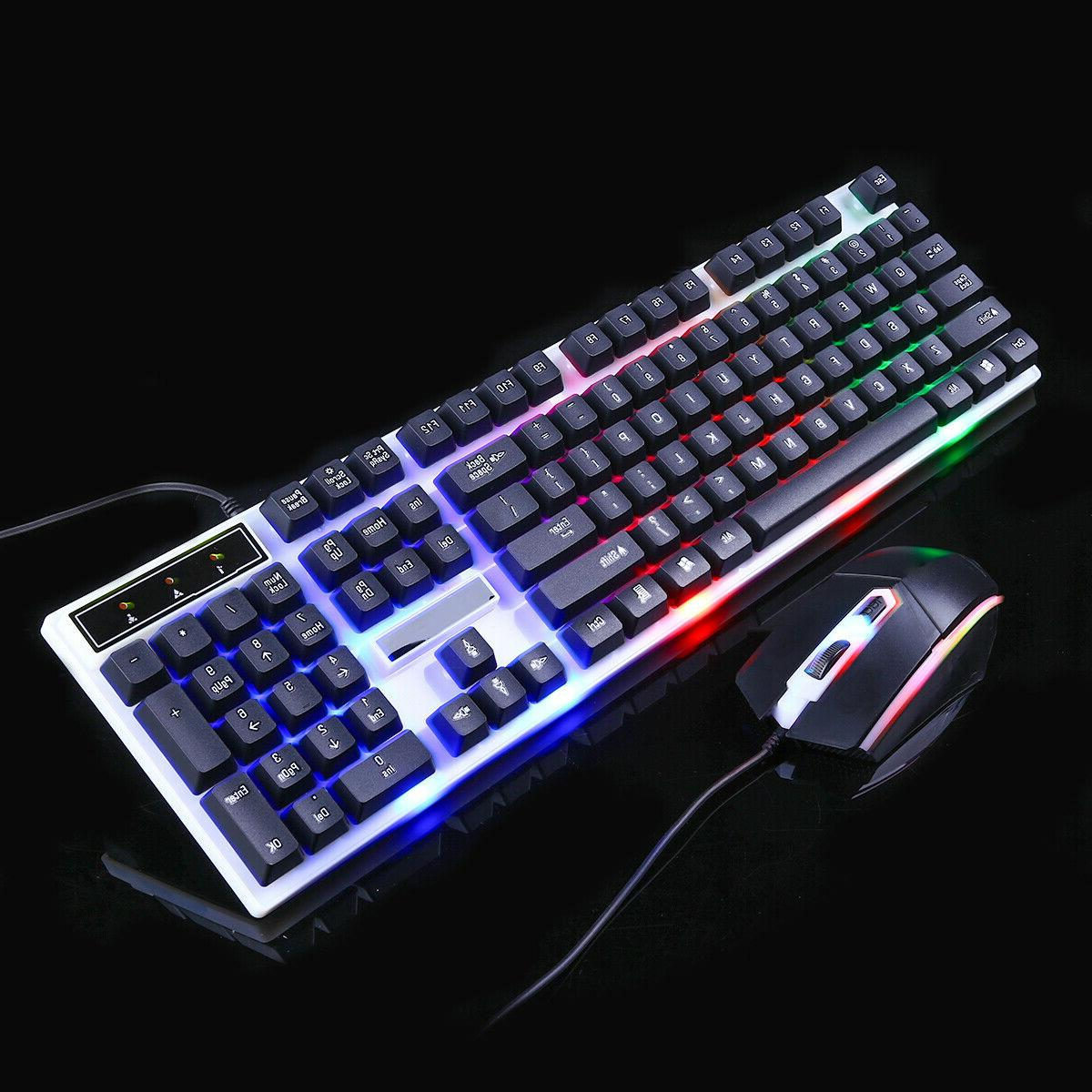 Computer Desktop Keyboard and Mouse Combo LED Light