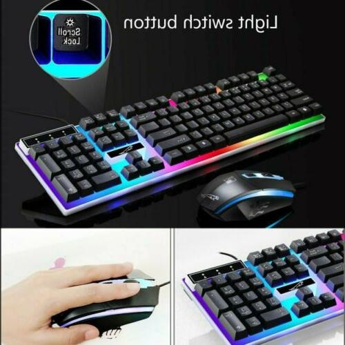 Rainbow Mechenical Gaming Keyboard & Mouse Backlight Mouse f