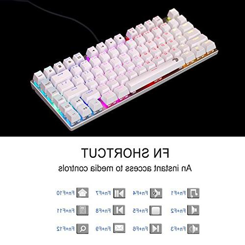 E-Element Gaming Keyboard, Brown Switch - & Clicky, LED Backlit, Water Resistant, Keys Anti-Ghosting for PC, White