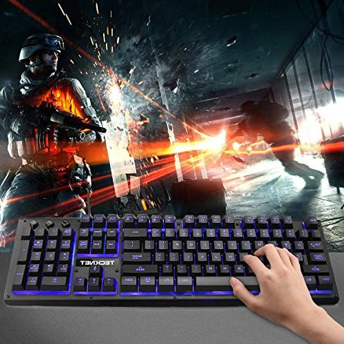 TeckNet Ergonomic LED Anti-ghosting Wired PC Computer Keyboard, Colors, Layout
