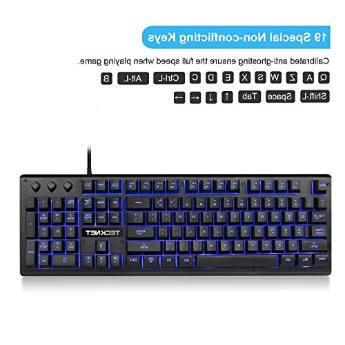 LED Wired PC Computer Keyboard, 3 Colors, US Layout