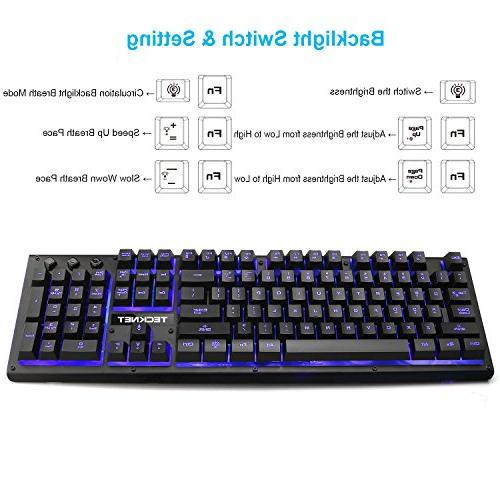 TeckNet Ergonomic LED Wired Keyboard, Colors, Layout