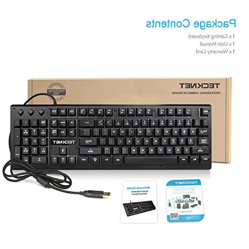 TeckNet Adjustable LED Illuminated Wired PC Computer Keyboard, 3 Colors, Layout