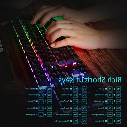 Gaming Design Keyboard Rainbow Backlit, Spill-Resistant Design Gaming Everyday