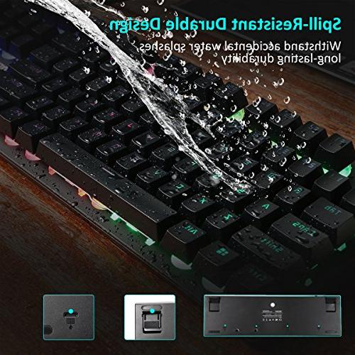 Gaming Design Wired Mechanical Keyboard Backlit, Spill-Resistant Design Gaming and Everyday Use