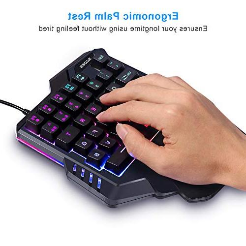 Gaming One-Hand Gaming Keyboard,Small Gaming Feel with Keyboard Colorful Backlight, Game