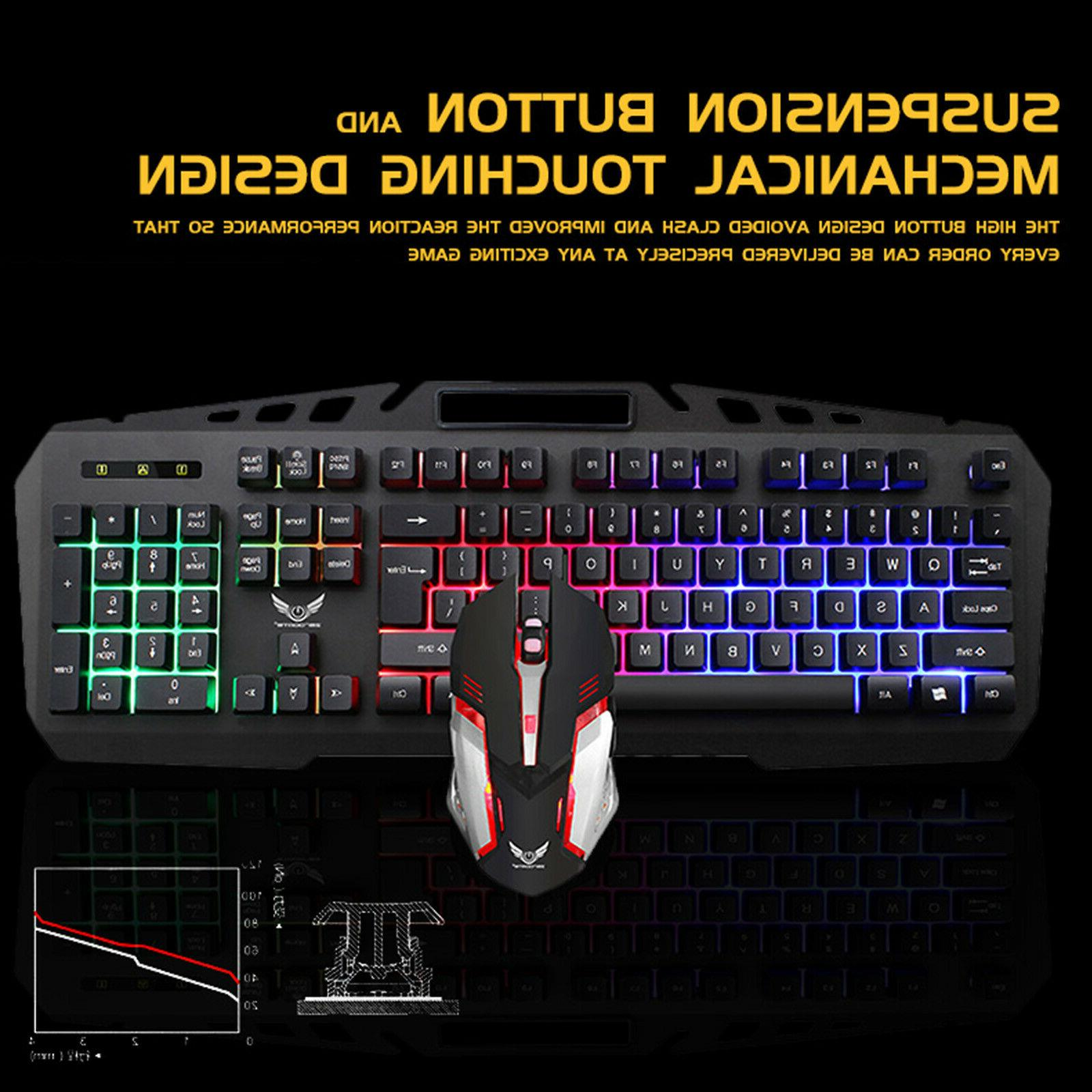 Gaming Keyboard & Mouse Combo LED Feel DPI