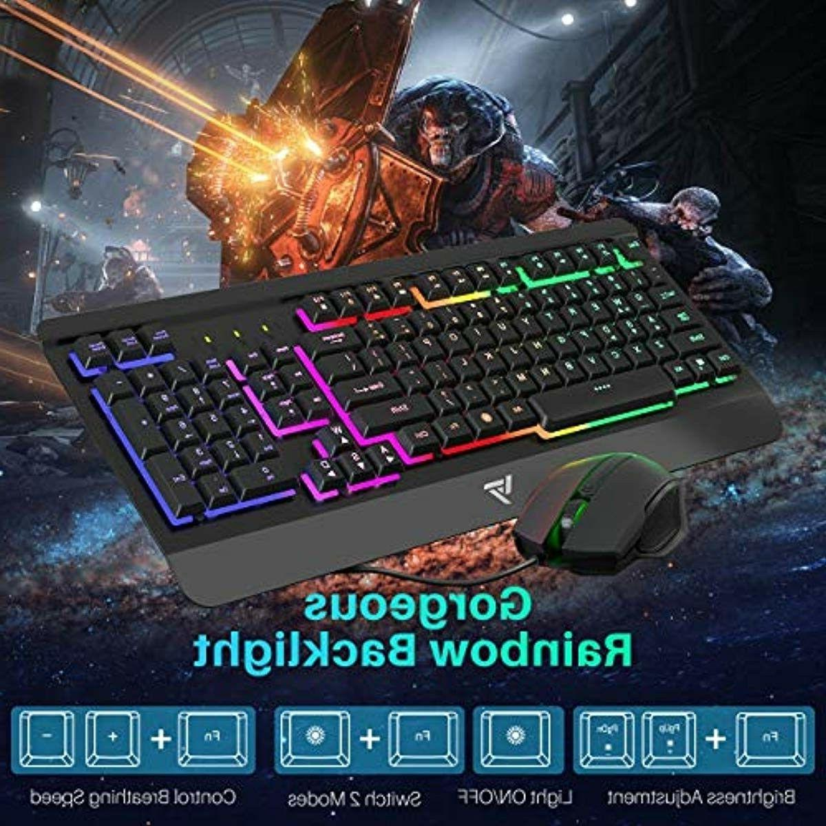 Gaming Keyboard Combo,Ultra-Slim,LED Backlit,Wrist PC