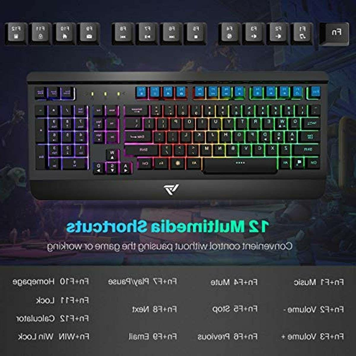 Gaming Keyboard Combo,Ultra-Slim,LED Rest for PC