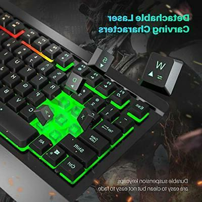 Gaming Keyboard Mouse Combo, UltraSlim Rainbow Backlit