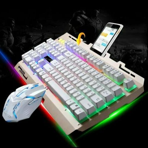 RGB LED Backlit USB Wired Gaming Keyboard and Mouse Set Comb