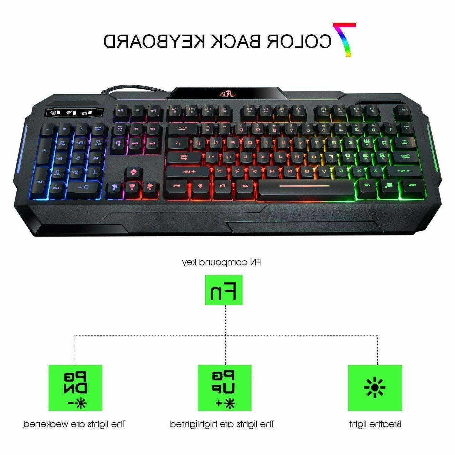 Gaming Mechanical Backlit Illuminated Wired LED