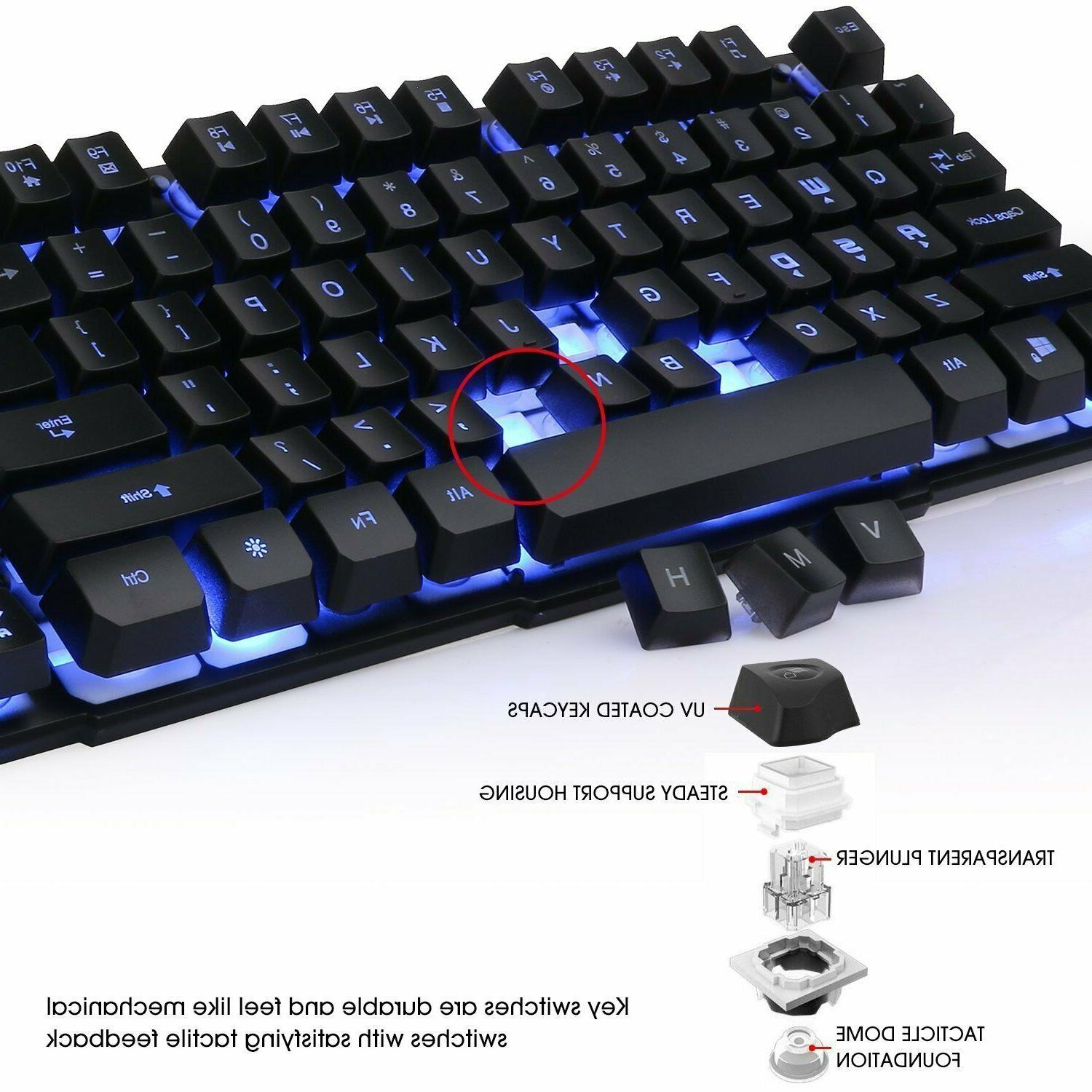 Gaming Mechanical Backlit Illuminated PC LED