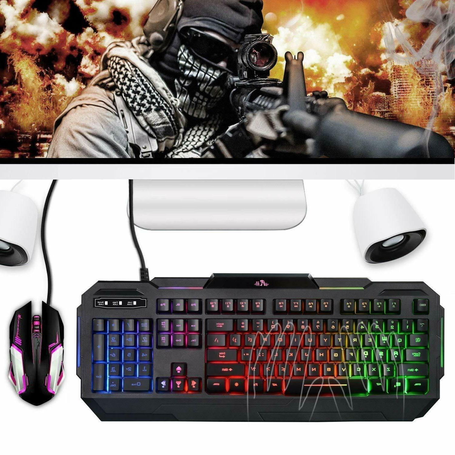 Gaming Mechanical Backlit Illuminated LED Rainbow