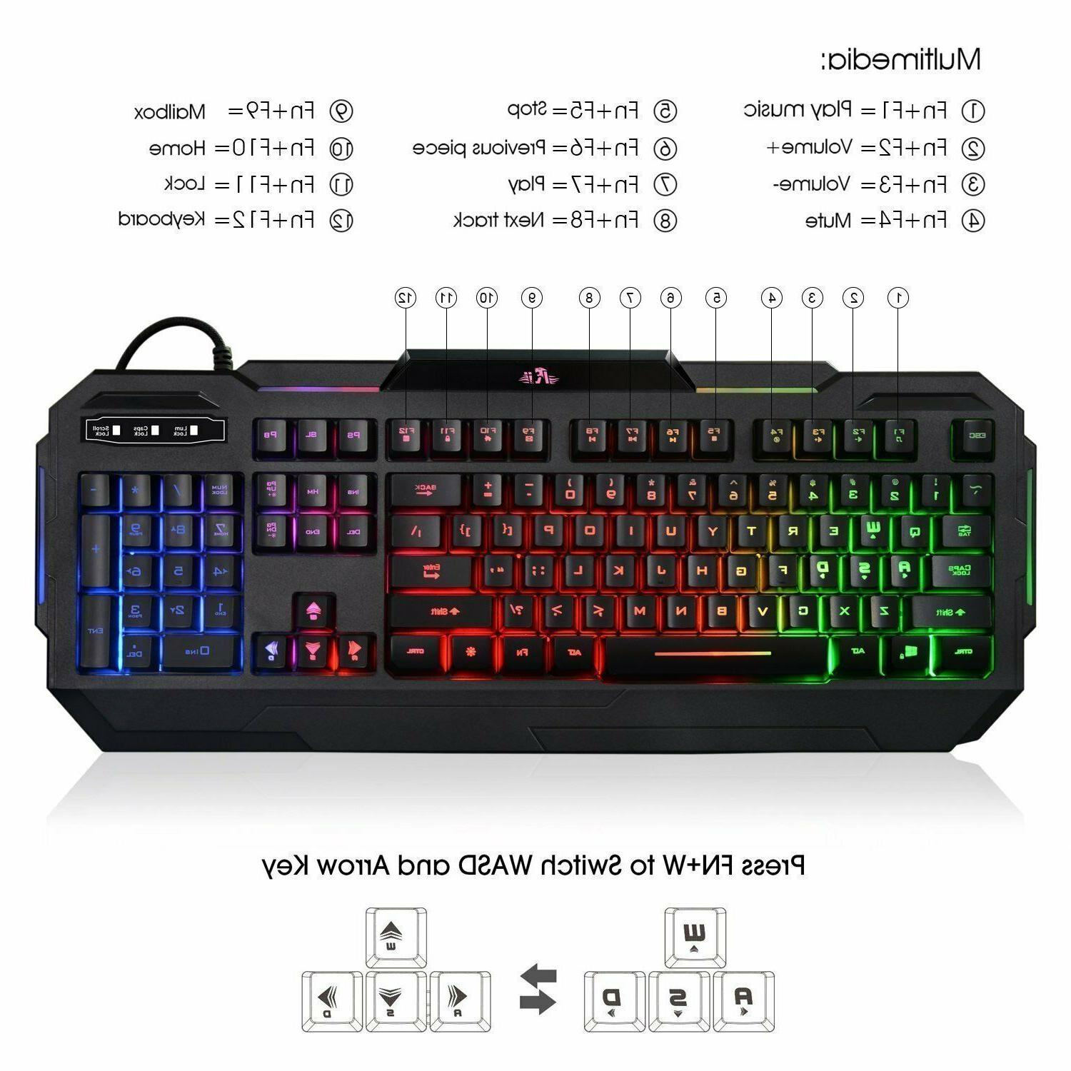 Wired Gaming Keyboard illuminated Light Up 7 Led Backlit Key