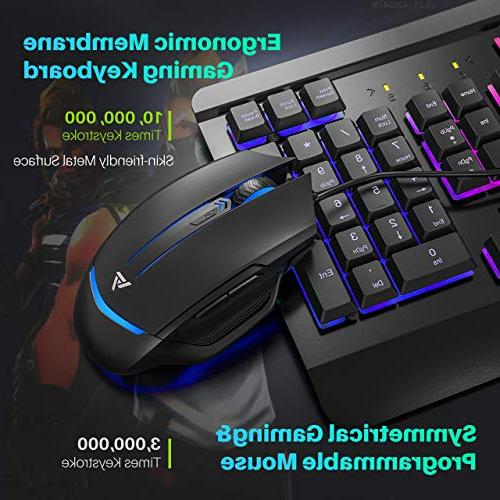 VicTsing Mouse LED Backlit with Ergonomic Wrist Programmable 6 Button Mouse Windows Gamer, Design