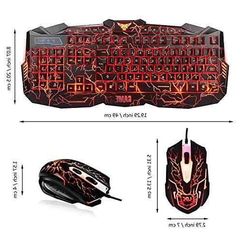Keyboard and Mouse Combo with Gaming Set, Speaker Headphone + Mouse for Gamer Computer Office