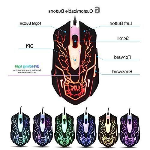 Keyboard Mouse with Gaming Headset Set, Speaker Driver Headphone + for PC Gamer Office
