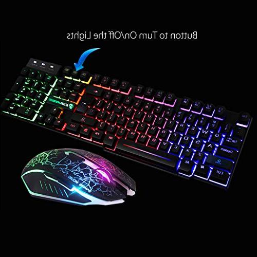 HAHAP Gaming Keyboard and Mouse ComboT6 Rainbow USB and Set PC Laptop