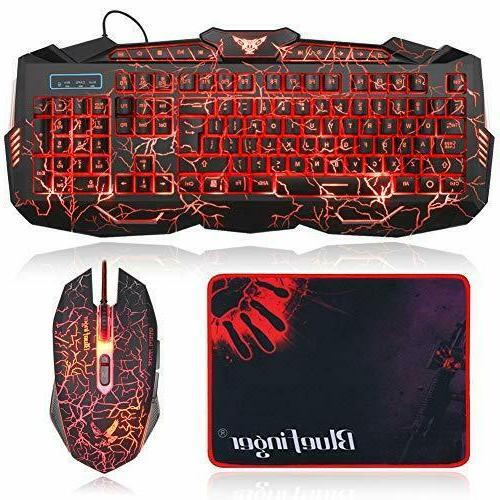Gaming Keyboard and Mouse Combo Bluefinger USB Wired Lighted