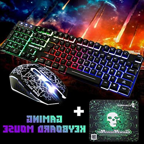 gaming keyboard mouse combot6 rainbow