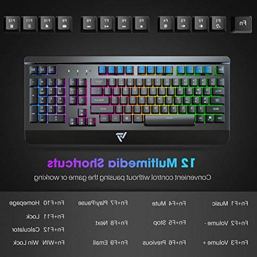 VicTsing Gaming Keyboard Wired Panel Ergonomic Wrist Rest, Rainbow for Computer