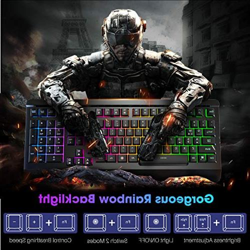 VicTsing Gaming Keyboard Wired Keyboard, All-Metal Ergonomic Rainbow Backlit for