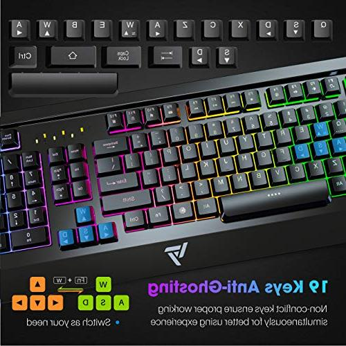 VicTsing USB Wired Panel Spill-Resistant Keyboard with Ergonomic Ultra-Slim Rainbow LED Backlit Keyboard