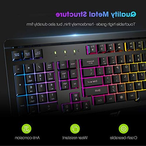 VicTsing Gaming Keyboard Wired Keyboard, Quiet Panel Ergonomic for Computer