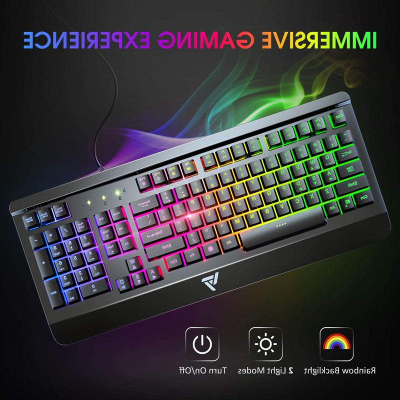Victsing Gaming Keyboard, Wired Quiet Durable All-Metal Comp