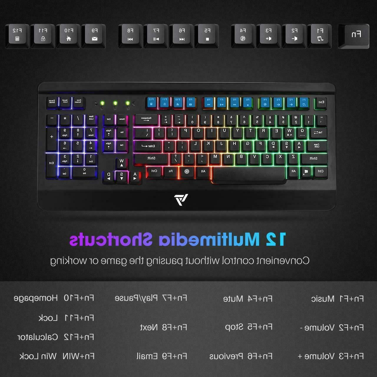 Gaming Keyboard, Wired Keyboard All-Metal Panel