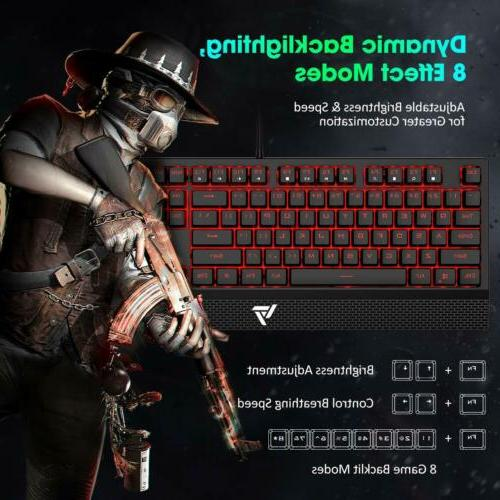 VicTsing Gaming Keyboard Wired, Red LED Mechanical Keyboard Red Switch