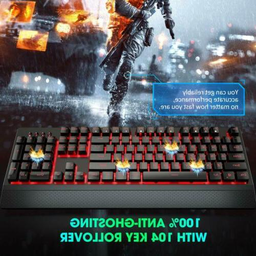VicTsing Wired, Red Mechanical Keyboard Red Switch