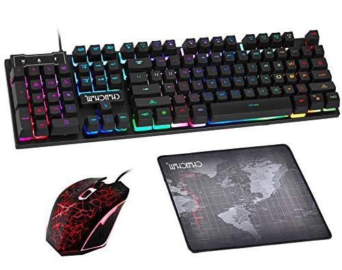 Gaming Wired Keyboard and Emitting Character Mouse Keys PC Pi Tob with Mousepad,910b