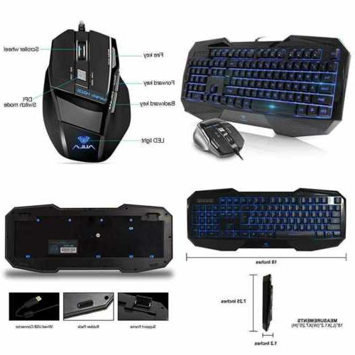 LumsBurry Rainbow LED Backlit USB Wired Office Gaming Keyboa