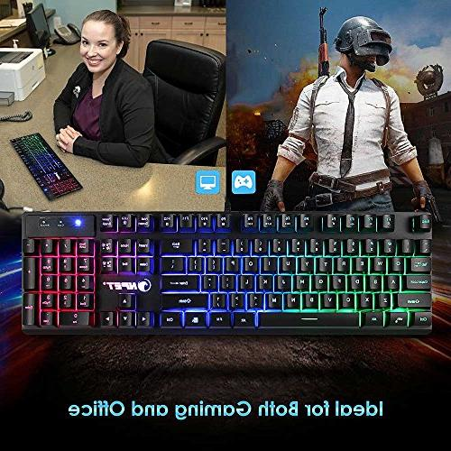 NPET K10 Wired Floating Gaming Keyboard, Mechanical Feeling Keyboard Computer