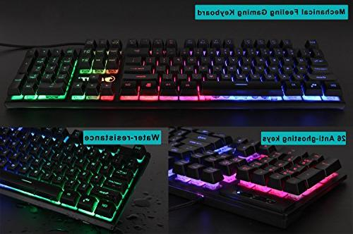 NPET K10 Wired Backlit Floating Keyboard, Feeling Rainbow Gaming Computer