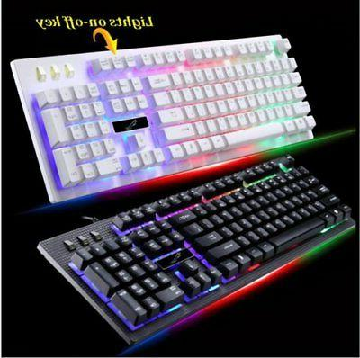 Keyboard and Wired Mouse Set Rainbow Backlight