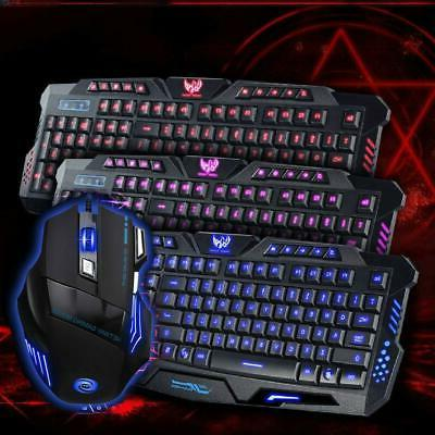 Hot 3 Color LED Wired USB Ergonomic Gaming Keyboard&Mouse