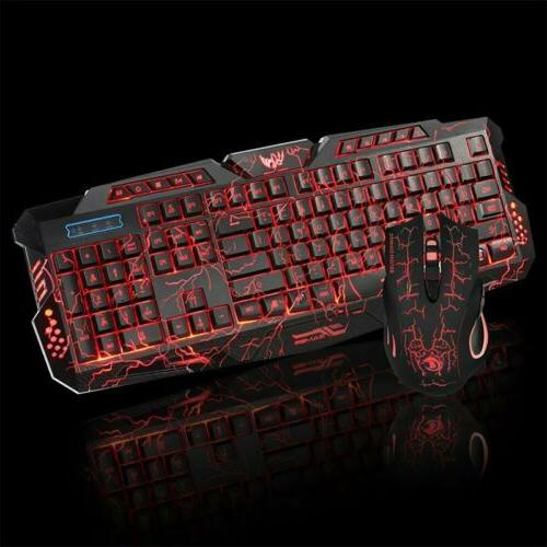 LED Gaming Keyboard & Mouse Set Mechanical Feel Breathable L